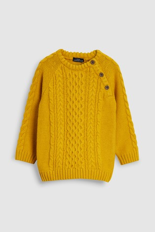 boys mustard coloured cable sweater