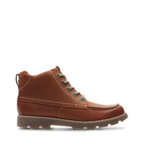 Single brown lace up boot