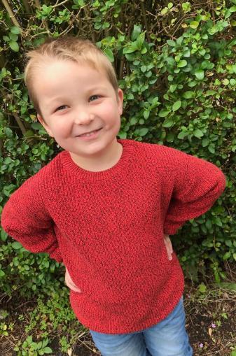 boy wearing orange sweater in front of bush
